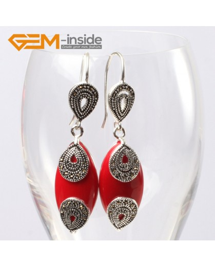 G5646 Man-made red coral Fashion 14x32mm Marquise beads tibetan silver dangle earrings for chritmas gift Ladies Birthstone Earrings Fashion Jewelry Jewellery