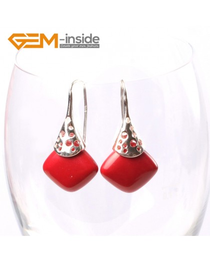 G5729 Man-made red coral Fashion pretty 15mm square beads Marcasite silver dangle earrings  G-Beads Ladies Birthstone Earrings Fashion Jewelry Jewellery