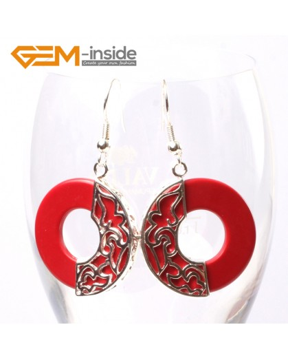 G5738 Man-made red coral Fashion Pretty 28mm ring beads Marcasite silver dangle earrings 1 pairG-Beads Ladies Birthstone Earrings Fashion Jewelry Jewellery