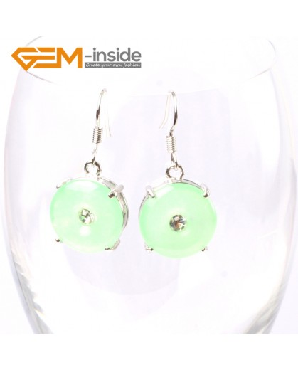 G5752 Dyed green jade Fashion 15mm ring dyed green jade beads carved silver dangle earrings G-Beads Ladies Birthstone Earrings Fashion Jewelry Jewellery