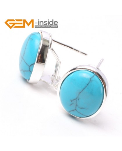 G5761 Dyed blue turquoise Fashion Pretty 12x14mm oval bead silver stud earrings 1 pair G-Beads hot selling Ladies Birthstone Earrings Fashion Jewelry Jewellery