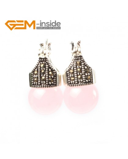 G5772 Pink crystal G-Beads Fashion 12mm round beads Marcasite silver dangle stud  hoop earrings Ladies Birthstone Earrings Fashion Jewelry Jewellery