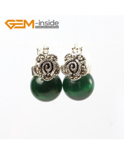 G5810 Green cat eye G-Beads Fashion 12mm round beads Marcasite silver flower stud  hoop earrings Ladies Birthstone Earrings Fashion Jewelry Jewellery