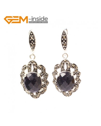 G5834 Faceted blue sandstone G-Beads Fashion oval beads Marcasite silver dangle stud hoop earring 1 pair Ladies Birthstone Earrings Fashion Jewelry Jewellery