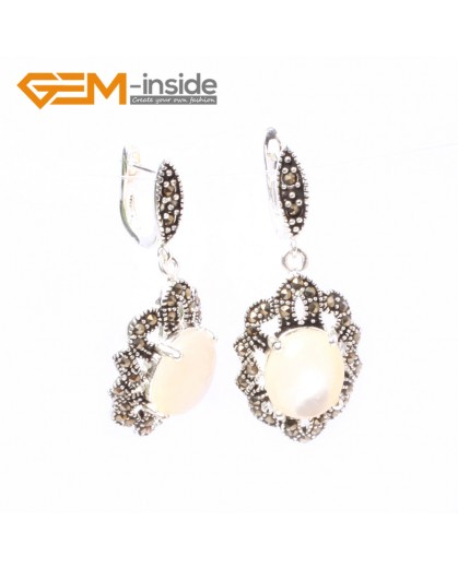 G5838 White shell G-Beads Fashion oval beads Marcasite silver dangle stud hoop earring 1 pair Ladies Birthstone Earrings Fashion Jewelry Jewellery
