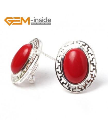 G5926 Man-made red coral Fashion jewelry oval bead  silver lever back hoop stud earring 1 pair G-Beads Ladies Birthstone Earrings Fashion Jewelry Jewellery