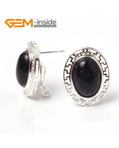 G5929 Blue sandstone Fashion jewelry oval bead  silver lever back hoop stud earring 1 pair G-Beads Ladies Birthstone Earrings Fashion Jewelry Jewellery