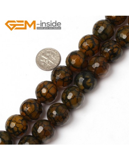 """G5958 16mm Round Faceted Yellow Crackle Agate Beads Strand 15"""" Free Shipping Gbeads Natural Stone Beads for Jewelry Making Wholesale`"""