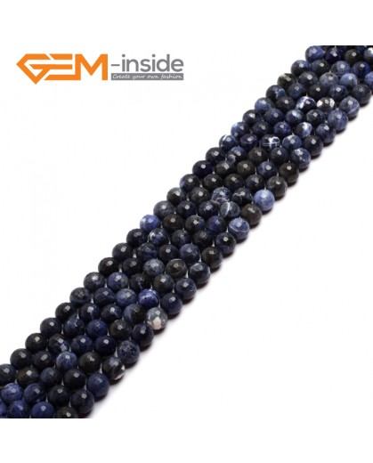 "G6948 4mm Round Faceted Gemstone Sodalite Jewelry Making Loose Beads Strand 15"" Natural Stone Beads for Jewelry Making Wholesale"