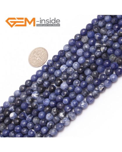 "G6949 6mm Round Faceted Gemstone Sodalite Jewelry Making Loose Beads Strand 15""  Natural Stone Beads for Jewelry Making Wholesale"