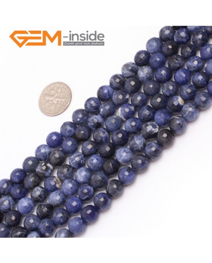 "G6950 8mm Round Faceted Gemstone Sodalite Jewelry Making Loose Beads Strand 15""  Natural Stone Beads for Jewelry Making Wholesale"