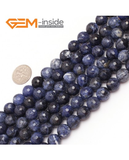 "G6951 10mm Round Faceted Gemstone Sodalite Jewelry Making Loose Beads Strand 15""  Natural Stone Beads for Jewelry Making Wholesale"