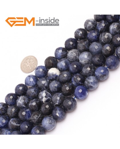 "G6952 12mm Round Faceted Gemstone Sodalite Jewelry Making Loose Beads Strand 15"" Natural Stone Beads for Jewelry Making Wholesale"