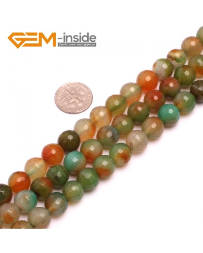 """G8173 10mm Round Faceted Gemstone Red&Green Agate DIY Jewelry Crafts Making Loose Beads15"""" Natural Stone Beads for Jewelry Making Wholesale"""
