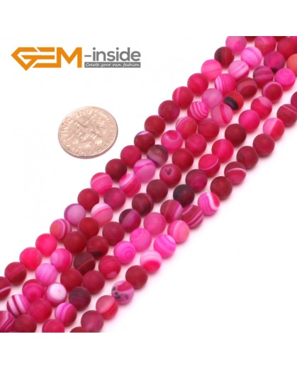 "G8205 Plum 6mm Round Gemstone Frost Matte Agate DIY Jewelry Making Beads 15""6-14mm Pick Colors Natural Stone Beads for Jewelry Making Wholesale"
