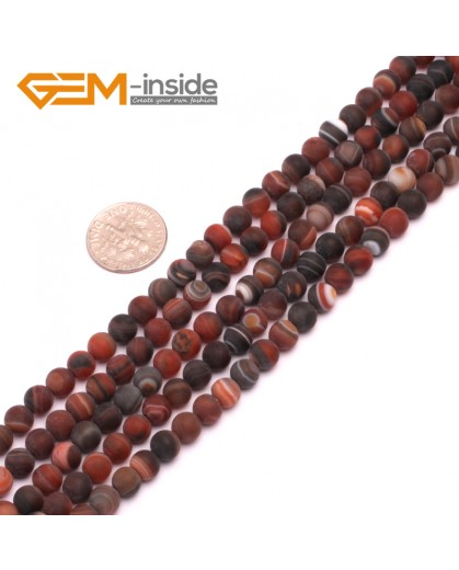 """G8207 Dream Lace Agate 6mm Round Gemstone Frost Matte Agate DIY Jewelry Making Beads 15""""6-14mm Pick Colors Natural Stone Beads for Jewelry Making Wholesale"""