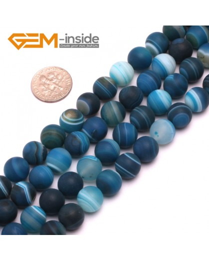 "G8223 Blue 10mm Round Gemstone Frost Matte Agate DIY Jewelry Making Beads 15""6-14mm Pick Colors Natural Stone Beads for Jewelry Making Wholesale"