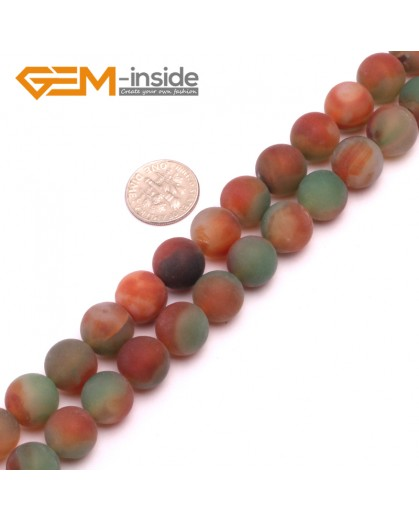 """G8237 Red&Green 12mm Round Gemstone Frost Matte Agate DIY Jewelry Making Beads 15""""6-14mm Pick Colors Natural Stone Beads for Jewelry Making Wholesale"""