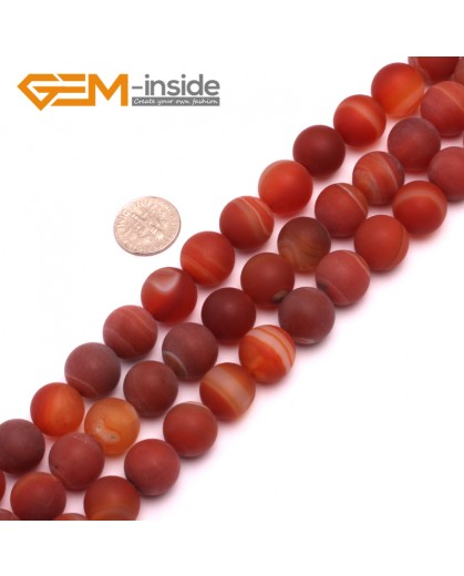 "G8238 Banded Red 14mm Round Gemstone Frost Matte Agate DIY Jewelry Making Beads 15""6-14mm Pick Colors Natural Stone Beads for Jewelry Making Wholesale"