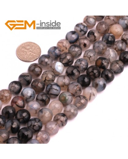 "G8259 10mm Black Round Faceted Gemstone Crackle Agate DIY Crafts Jewelry Loose Beads Strand 15"" Natural Stone Beads for Jewelry Making Wholesale"