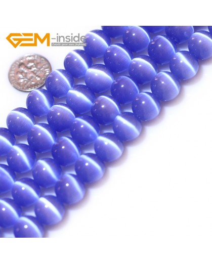 """G8291 12mm Gray blue Round Gemstone Lab Created Cat Eye DIY Jewelry Making Beads15""""Pick Size Colors Natural Stone Beads for Jewelry Making Wholesale"""