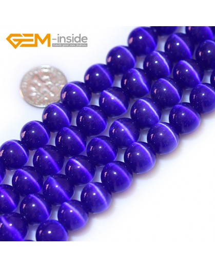 "G8301 Navy blue 12mm  Round Gemstone Lab Created Cat Eye DIY Jewelry Making Beads15""Pick Size Colors Natural Stone Beads for Jewelry Making Wholesale"
