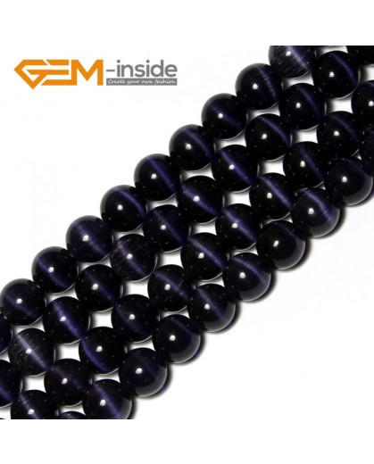 "G8310 10mm Dark pansy Round Gemstone Lab Created Cat Eye DIY Jewelry Making Beads15""Pick Size Colors Natural Stone Beads for Jewelry Making Wholesale"