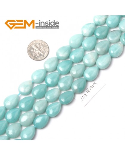"G9082 10x14mm Drop Natural Amazonite Gemstone DIY Jewelry Making Loose Beads strand 15"" Pick Size Natural Stone Beads for Jewelry Making Wholesale"