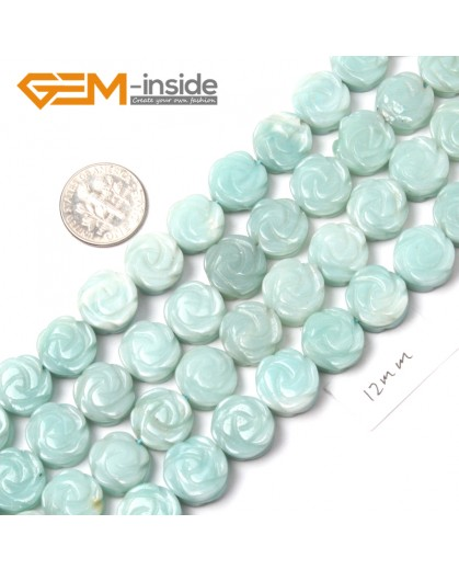 """G9097 Amazonite 12mm Flower Shape DIY Jewelry Making Beads Strand 15"""" Free Shipping Natural Stone Beads for Jewelry Making Wholesale"""