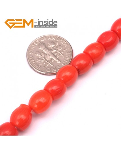 "G9235 7x6mm Column Red Coral Gemstone Jewerly Making Loose Beads Strand 15"" Gbeads Natural Stone Beads for Jewelry Making Wholesale"