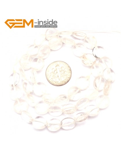 "G9360 10mm/White Quartz Natural Coin Gemstone Beads Jewelry Making Loose Beads Strand 15"" Free Shipping Natural Stone Beads for Jewelry Making Wholesale"