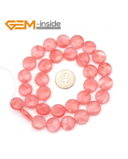 "G9363 12mm/Cherry Quartz Natural Coin Gemstone Beads Jewelry Making Loose Beads Strand 15"" Free Shipping Natural Stone Beads for Jewelry Making Wholesale"