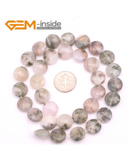 """G9365 12mm/Moss Agate  Natural Coin Gemstone Beads Jewelry Making Loose Beads Strand 15"""" Free Shipping Natural Stone Beads for Jewelry Making Wholesale"""