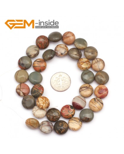 "G9369 12mm/Picasso Jasper Natural Coin Gemstone Beads Jewelry Making Loose Beads Strand 15"" Free Shipping Natural Stone Beads for Jewelry Making Wholesale"