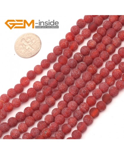 "G9396 6mm Round Red Frozen Frost Agate Beads Jewelry Making Gemstone Loose Beads Strand15"" Natural Stone Beads for Jewelry Making Wholesale`"