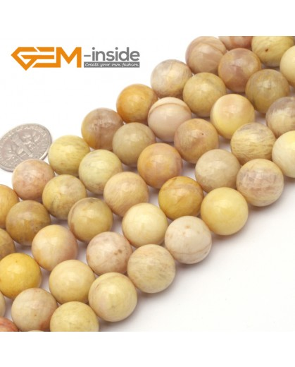 "G9434 12mm Round Smooth Gemstone Yellow Sun Stone Jewelry Making Loose Beads Strand 15"" Natural Stone Beads for Jewelry Making Wholesale`"
