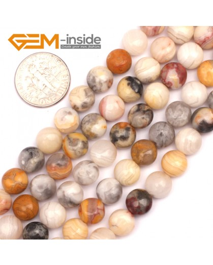 """G9449 Yellow/ Crazy Agate 8mm Coin Gemstone Jewelry Crafts Making Stone Loose Beads Strand 15"""" Natural Stone Beads for Jewelry Making Wholesale"""