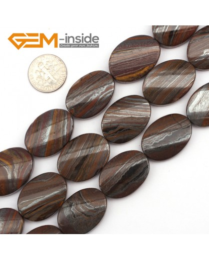 "G9469 Mixed-Color/Iron Tiger Eye (Twist) 18x25mm Oval Twist Gemstone Jewelry Making Stone Loose Beads Strand 15"" Natural Stone Beads for Jewelry Making Wholesale"