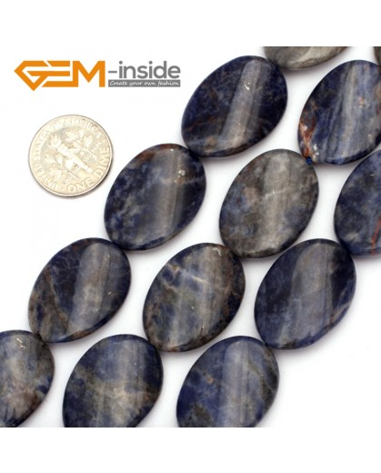 "G9472 Blue/Sodalite (Twist) 18x25mm Oval Twist Gemstone Jewelry Making Stone Loose Beads Strand 15"" Natural Stone Beads for Jewelry Making Wholesale"