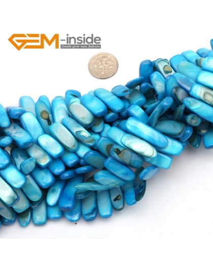 "G9512 10x20-25mm Light Blue Freeform Gemstone  Shell MOP Chips DIY Jewelry Making Loose Beads 15"" Natural Stone Beads for Jewelry Making Wholesale"