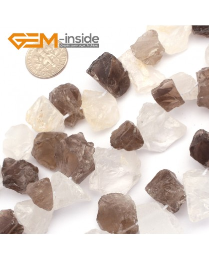 "G9592 White/Smoky Quartz(Head Drill 15-18mm Freefrom DIY Jewelry Making Natural Gemstone Loose Beads Strand 15"" Natural Stone Beads for Jewelry Making Wholesale`"
