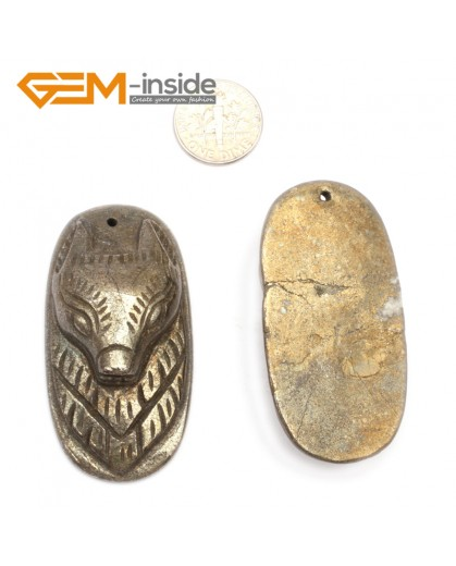 G9604 Fox Head/28-55mm Natural Carved Silver Gray Pyrite Gemstone Jewelry Pendant Loose Beads 1 Pcs Pendants Fashion Jewelry Jewellery