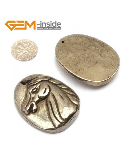 G9605 Horse (35-43mm) Natural Carved Silver Gray Pyrite Gemstone Jewelry Pendant Loose Beads 1 Pcs Pendants Fashion Jewelry Jewellery