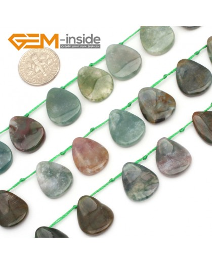 G9628 13x18mm Leaf Shape Smooth Gemstone Indian Agate Jewelry Making Loose Beads 25Pcs Natural Stone Beads for Jewelry Making Wholesale