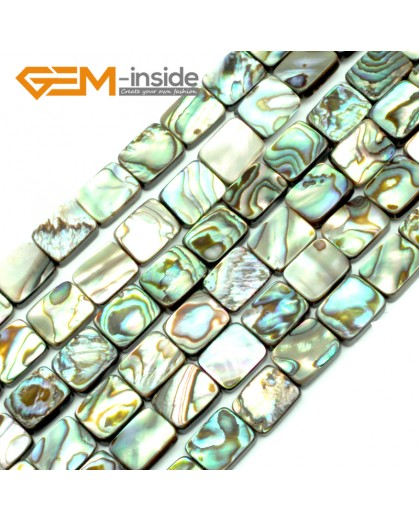 "G9693 8x10mm Rectangle Gemstone Natural Abalone Shell Jewelry Making Loose Beads Strand 15"" Natural Stone Beads for Jewelry Making Wholesale"