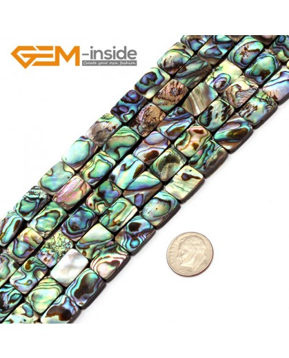 "G9695 10x14mm Rectangle Gemstone Natural Abalone Shell Jewelry Making Loose Beads Strand 15"" Natural Stone Beads for Jewelry Making Wholesale"