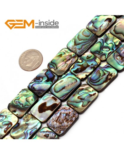 "G9696 13x18mm Rectangle Gemstone Natural Abalone Shell Jewelry Making Loose Beads Strand 15"" Natural Stone Beads for Jewelry Making Wholesale"