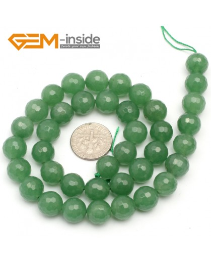 "G9728 10mm G-Beads Round Faceted Green Aventurine Jade Jewewlry Making Gemstone Beads 15"" Natural Stone Beads for Jewelry Making Wholesale"