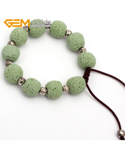 "G9743 Light Green Lava Rock Handmade Beads Bracelet Adjustable Bracelet 7-8.5""  Fashion Jewelry Jewellery Bracelets for women"