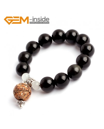 G9879 14mm(With Spacer Beads and White Cat Eye) Natural Round Obsidian Beads Stretchy Handmade Bracelet 7 1/2? Fashion Jewelry Fashion Jewelry Jewellery Bracelets  for women